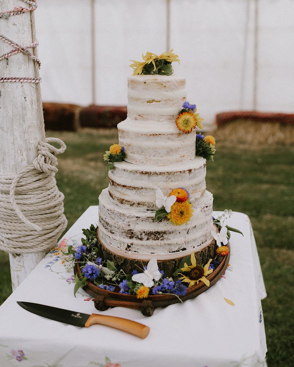 Semi Naked Cake Flowers Sunflowers Wedding Chris Bradshaw Photography