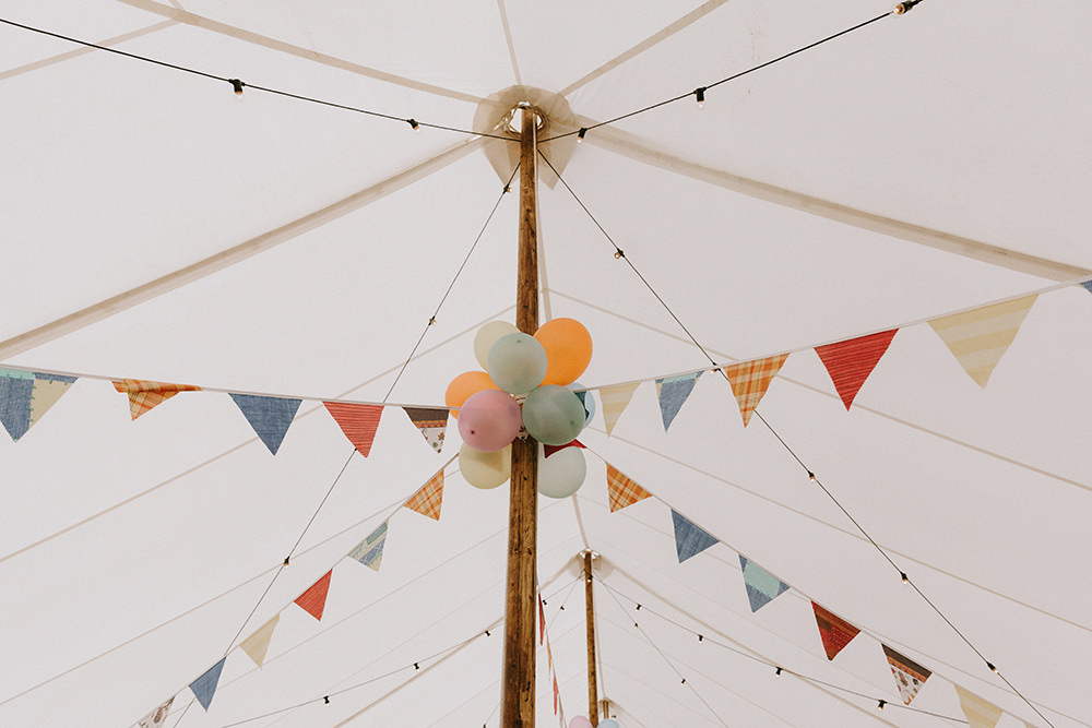 Marquee Buntung Festoon Lights Balloons Sunflowers Wedding Chris Bradshaw Photography