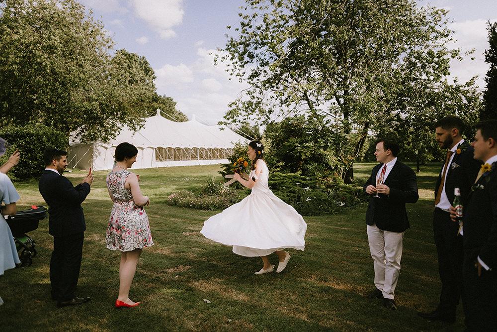 Dress Gown Bride Bridal Tea Length Sunflowers Wedding Chris Bradshaw Photography