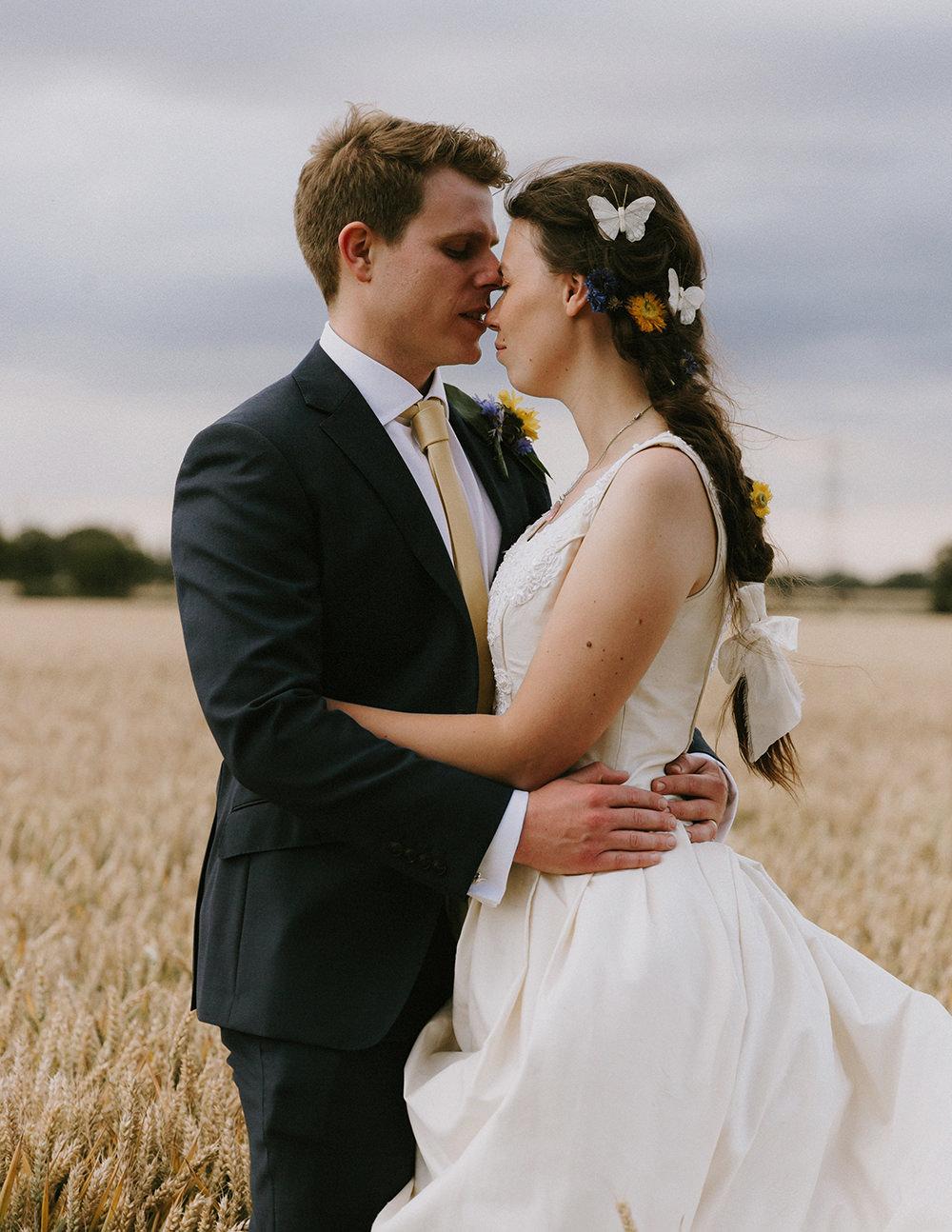 Bride Bridal Hair Style Plait Braids Butterflies Sunflowers Wedding Chris Bradshaw Photography