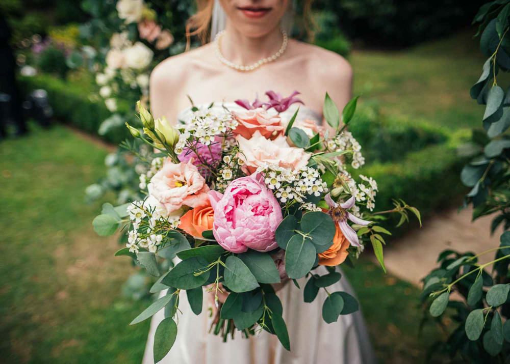Bouquet Flowers Bride Bridal Euclyptus Peony Peonies Rose Tinakilly Country House Wedding Conor Brennan Photography