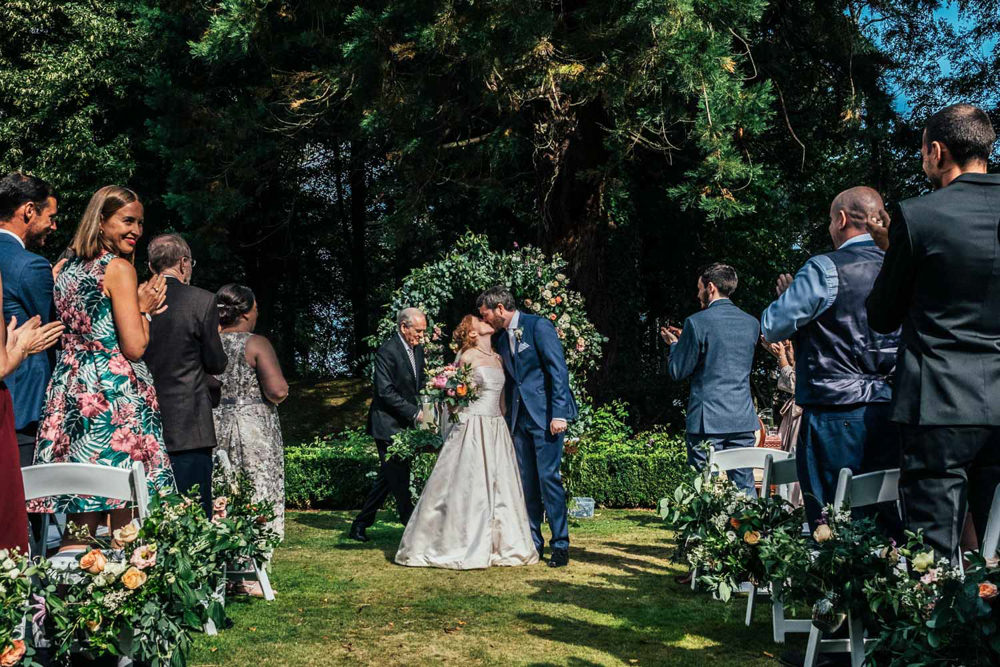 Outdoor Ceremony Garden Flower Arch Backdrop Aisle Tinakilly Country House Wedding Conor Brennan Photography