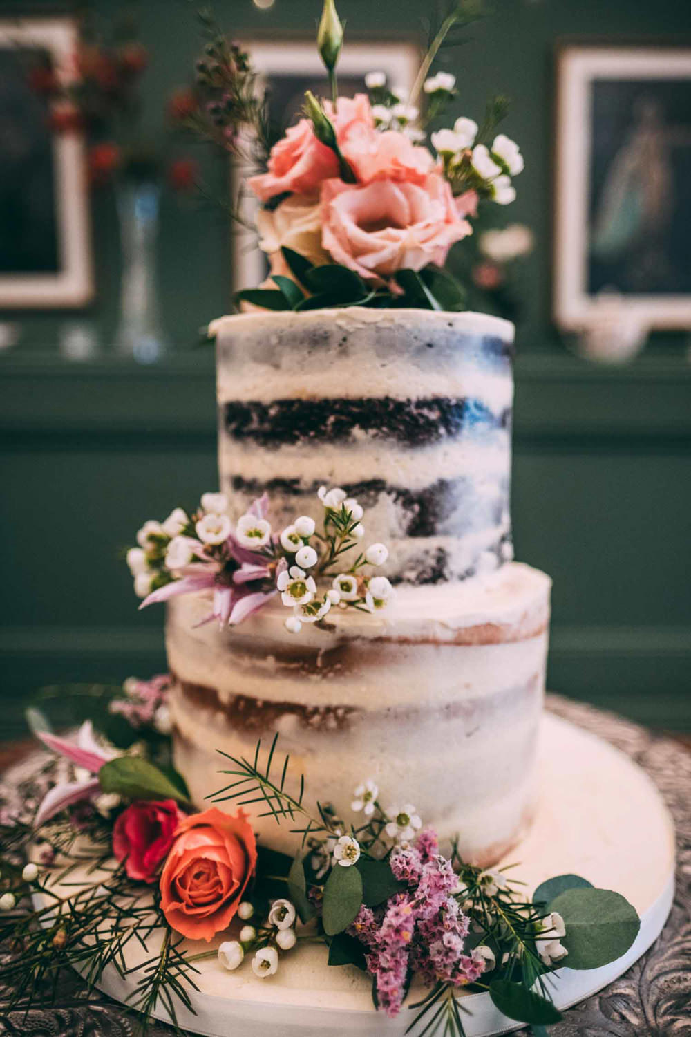 Semi Naked Cake Layer Sponge Flowers Tinakilly Country House Wedding Conor Brennan Photography