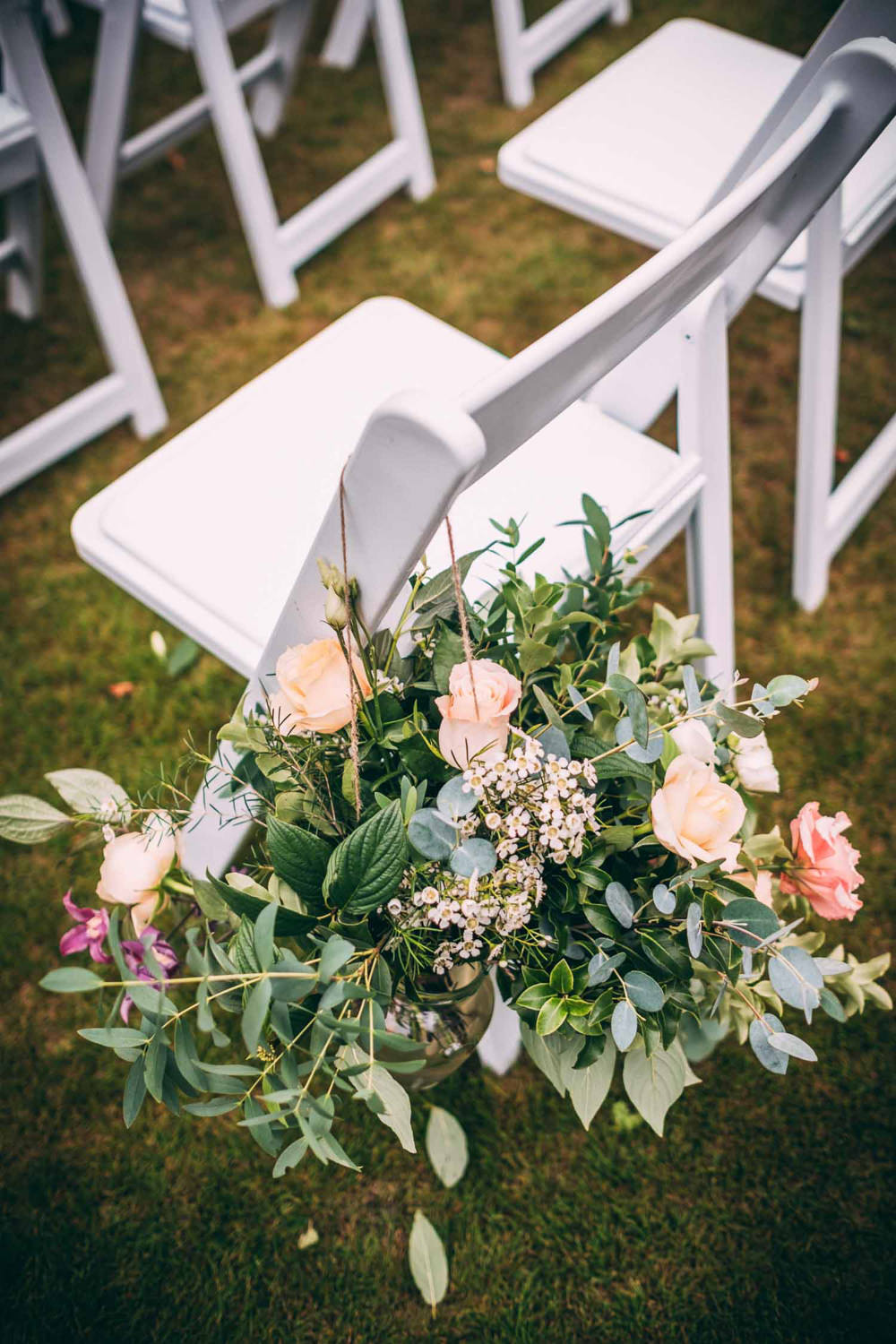 Chair Flowers Pew End Aisle Ceremony Tinakilly Country House Wedding Conor Brennan Photography