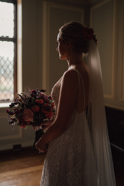Dress Gown Bride Bridal Embellished A Line Beaded Train Tara Keely Lazaro Veil Ufton Court Wedding Emily & Steve Photography
