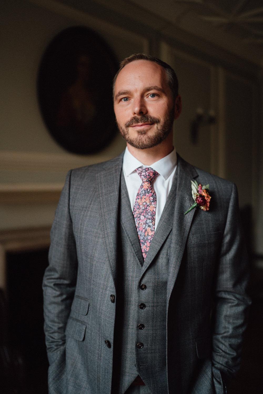 Groom Suit Grey Floral Tie Ufton Court Wedding Emily & Steve Photography