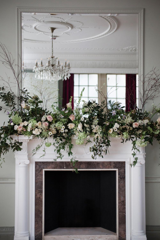 Fireplace Mantle Piece Flowers Greenery Foliage Blush Rose Whimsical Elegant Wedding Ideas Mandorla London