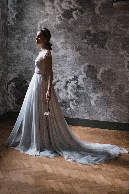 Bride Bridal Dress Gown Naomi Neoh Tulle Train Whimsical Elegant Wedding Ideas Mandorla London