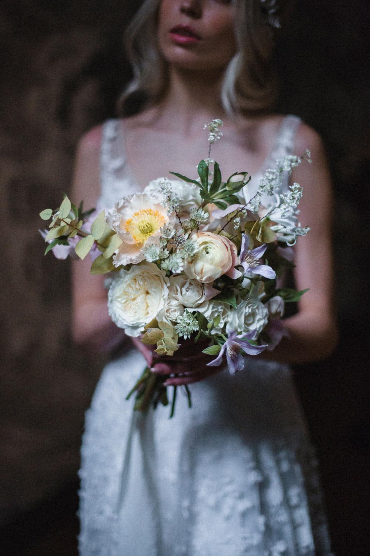 Bouquet Flowers Bride Bridal Peach Pink Anemone Rose Ranunculus Whimsical Elegant Wedding Ideas Mandorla London