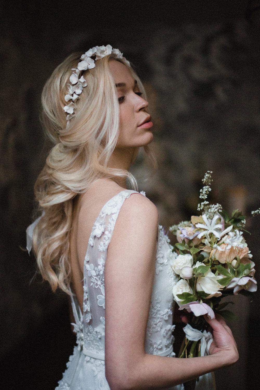 Bride Bridal Hair Style Up Do Curls Ribbon Waves Crown Whimsical Elegant Wedding Ideas Mandorla London