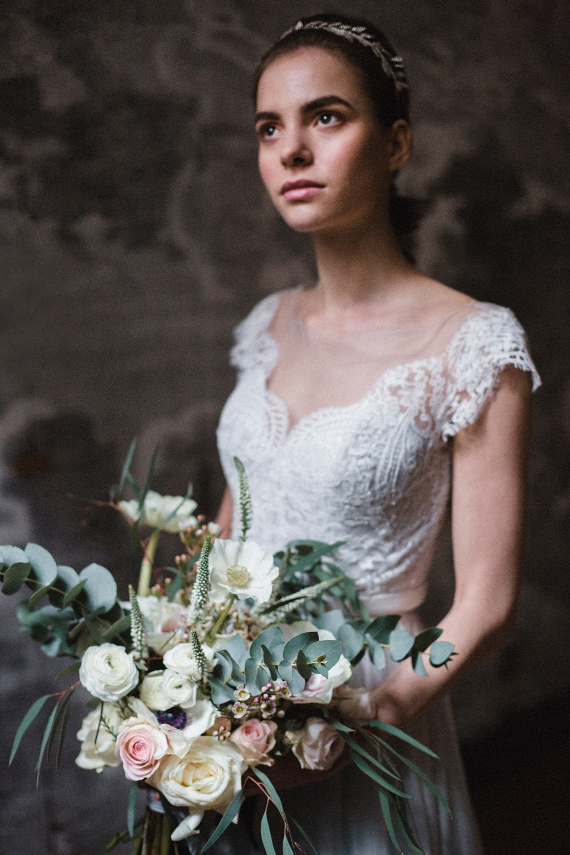 Bouquet Flowers Bride Bridal Peach Pink Anemone Rose Ranunculus Eucalyptus Whimsical Elegant Wedding Ideas Mandorla London