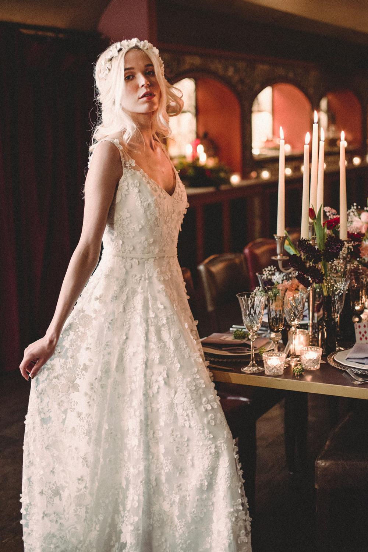 Bride Bridal Dress Gown Naomi Neoh Floral Lace Train Whimsical Elegant Wedding Ideas Mandorla London