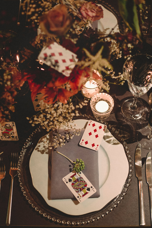 Place Setting Decor Playing Cards Flowers Whimsical Elegant Wedding Ideas Mandorla London