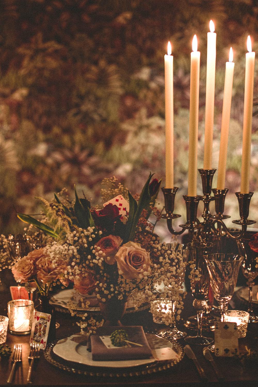 Table Tablescape Candles Candlestick Flowers Decor Whimsical Elegant Wedding Ideas Mandorla London