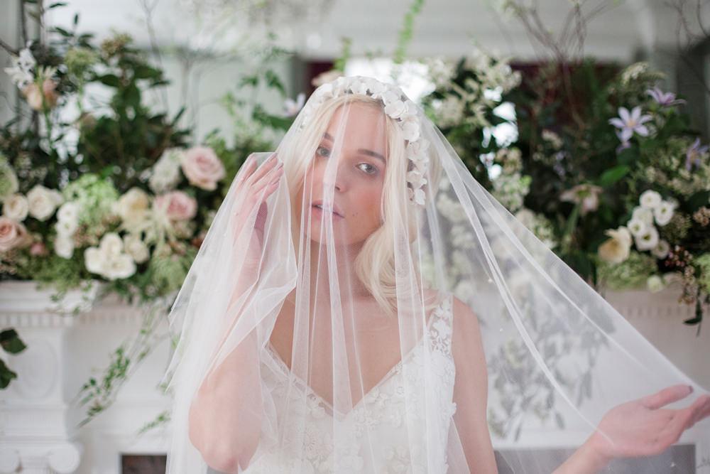 Bride Bridal Hair Style Up Do Curls Ribbon Waves Veil Crown Whimsical Elegant Wedding Ideas Mandorla London