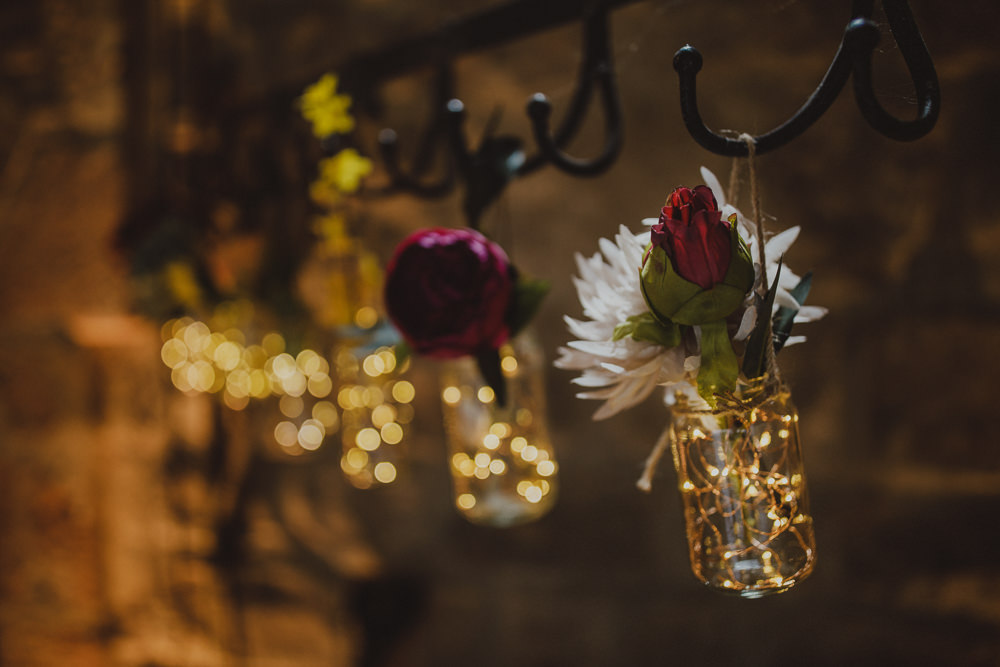 Hanging Flowers Ceremony Wiltshire Barn Wedding Photography34