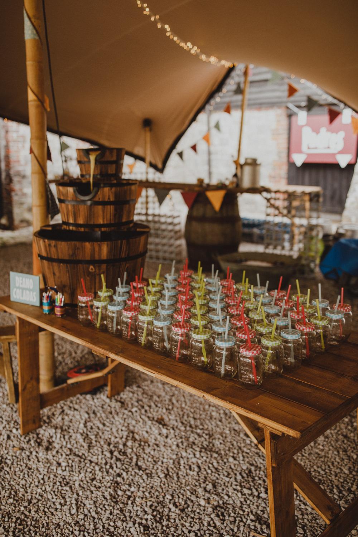Drinks Table Bar Wiltshire Barn Wedding Photography34