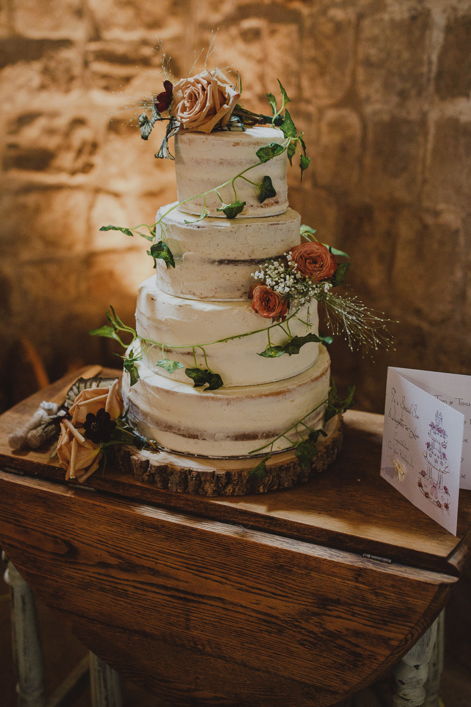 Semi Naked Cake Flowers Wiltshire Barn Wedding Photography34