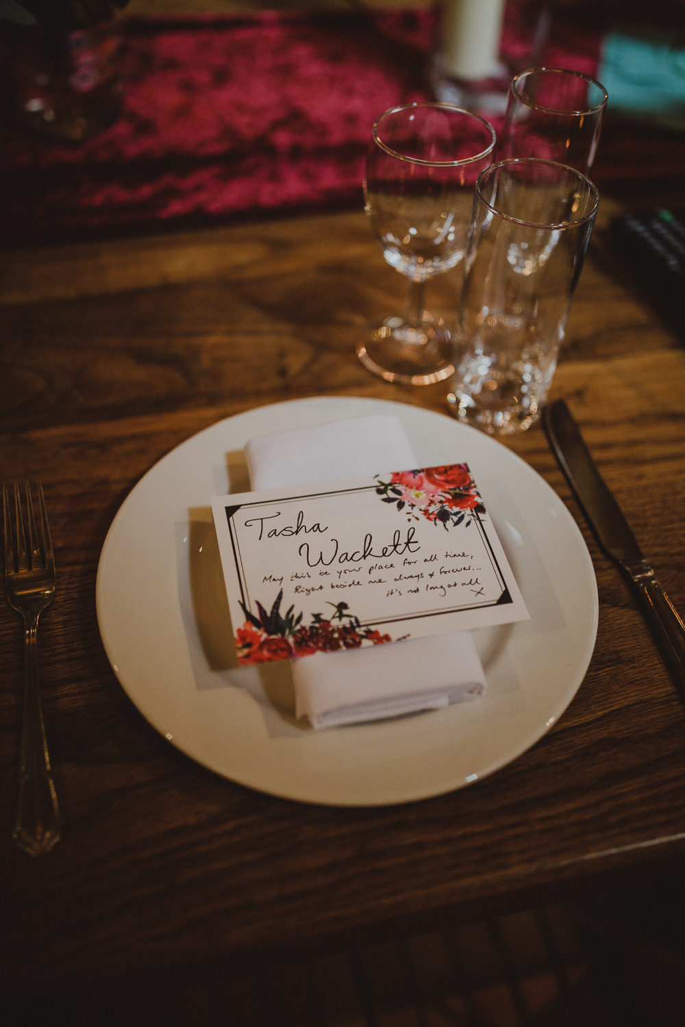 Place Name Card Setting Wiltshire Barn Wedding Photography34