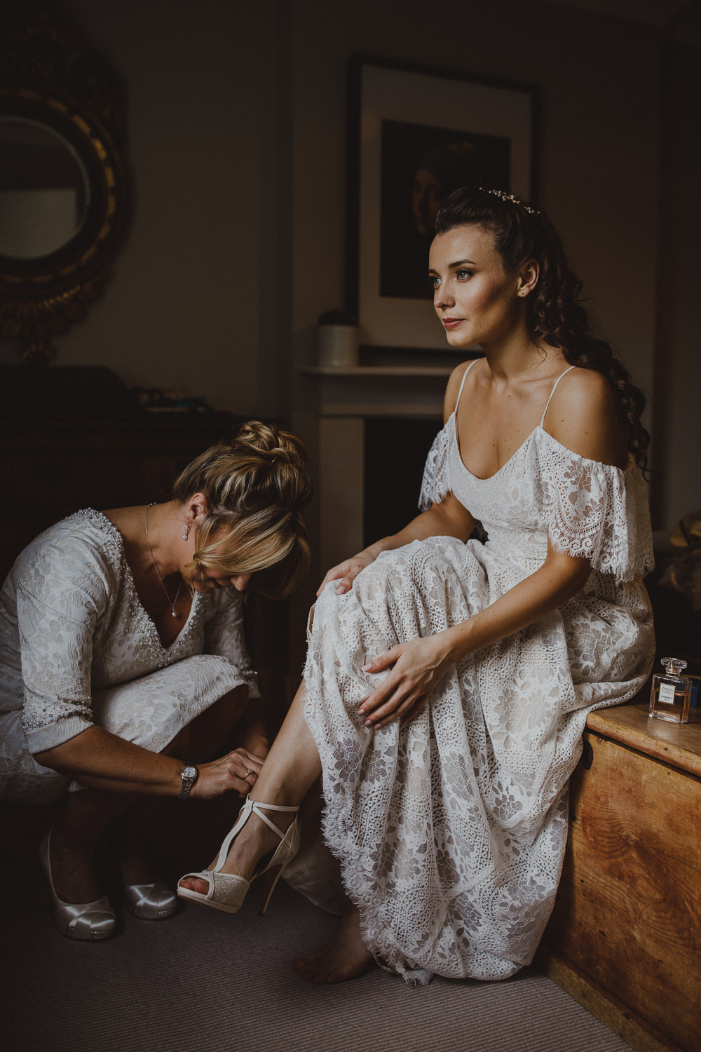 Dress Gown Bride Bridal Lace Sleeves Off Shoulder Bardot Wiltshire Barn Wedding Photography34