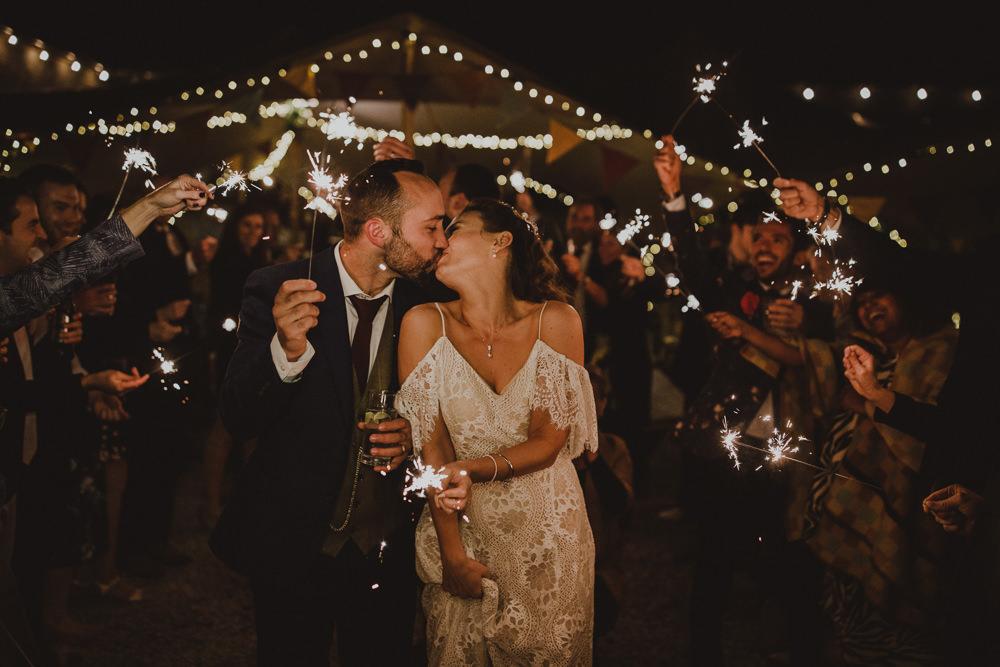 Sparkler Sparklers Exit Send Off Wiltshire Barn Wedding Photography34