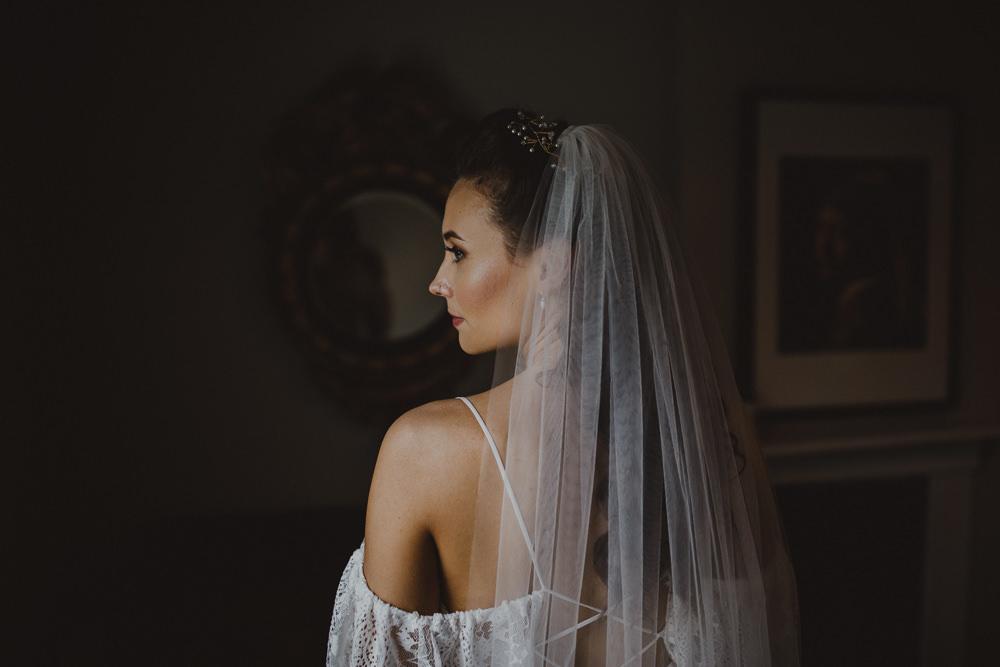 Dress Gown Bride Bridal Lace Sleeves Off Shoulder Bardot Veil Wiltshire Barn Wedding Photography34