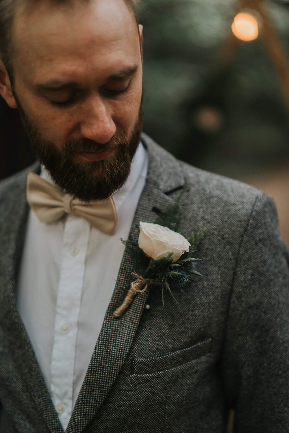 Groom Suit Grey Bow Tie Buttonhole Flowers Woodland Wedding Inspiration Stephanie Dreams Photography