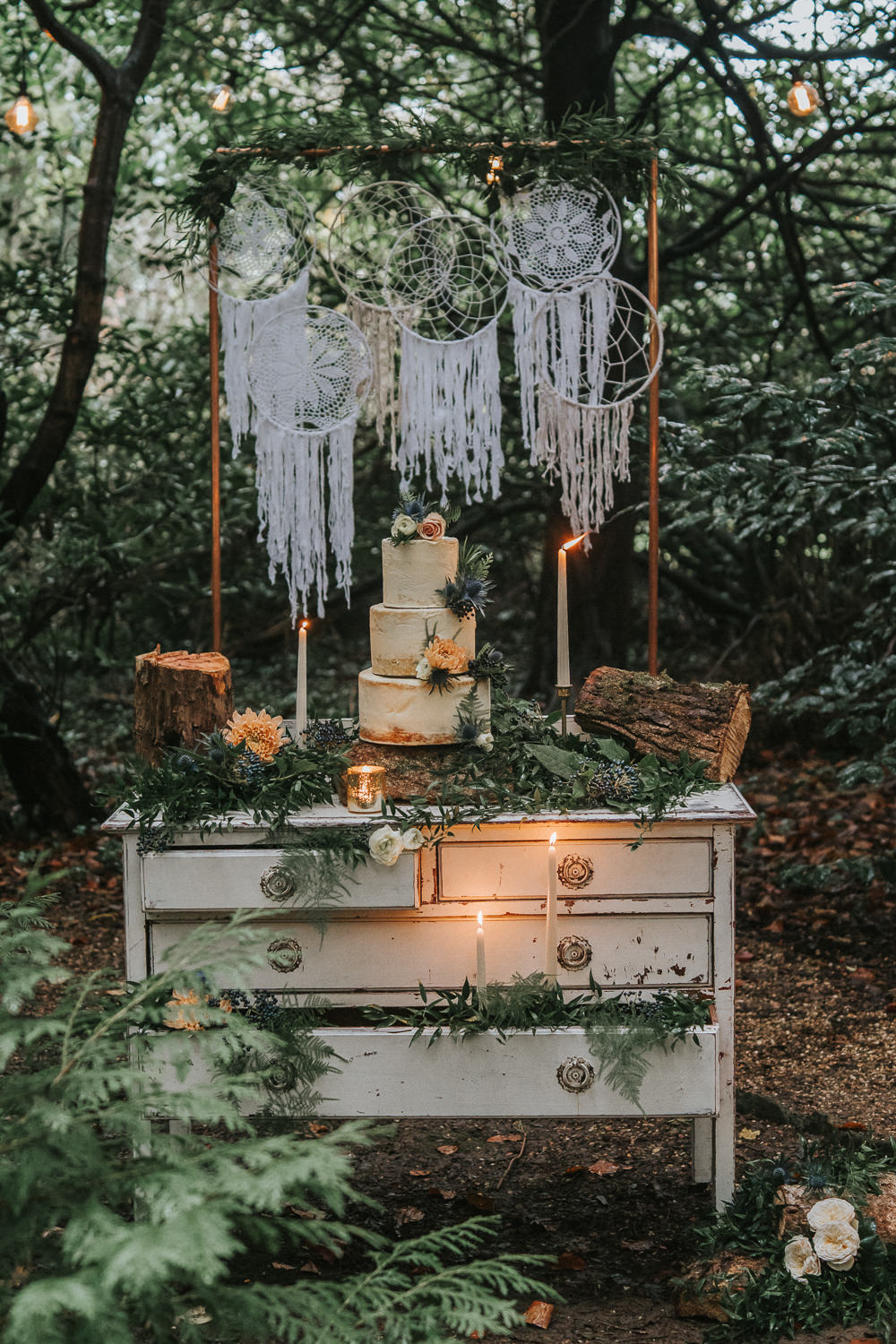Cake Table Dresser Macrame Backdrop Candles Greenery Woodland Wedding Inspiration Stephanie Dreams Photography