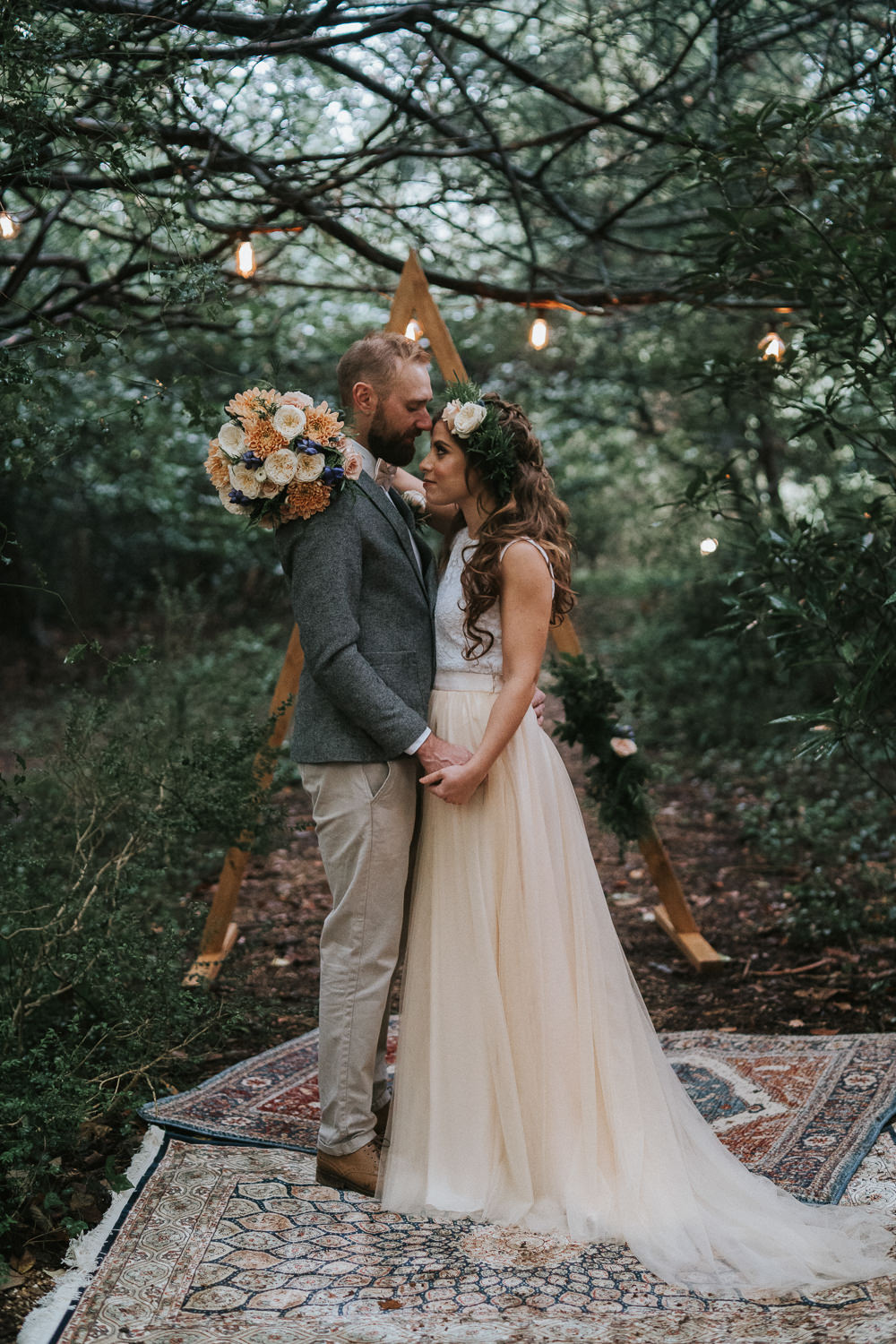 Backdrop Triangle Wooden Festoon Lights Rugs Ceremony Aisle Woodland Wedding Inspiration Stephanie Dreams Photography