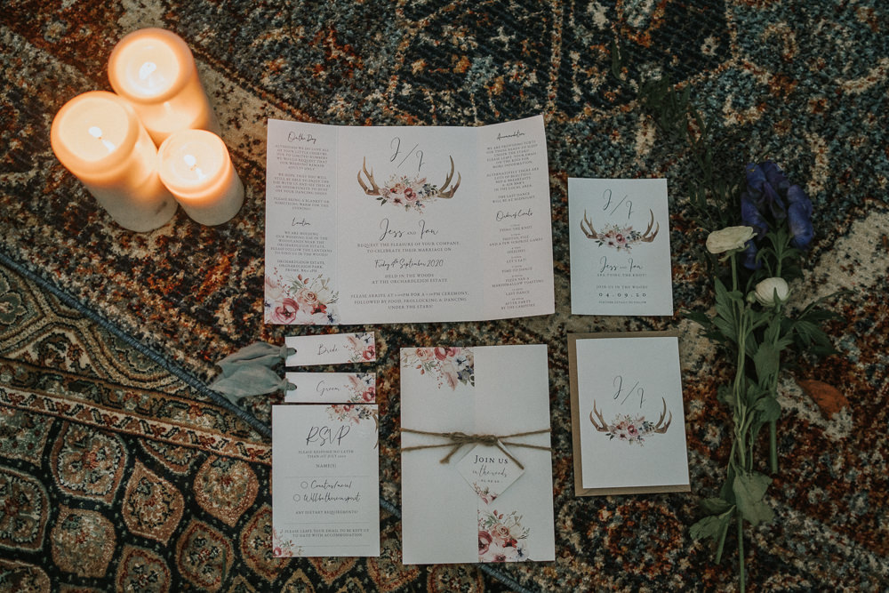 Stationery Suite Invite Invitations Floral Antlers Woodland Wedding Inspiration Stephanie Dreams Photography