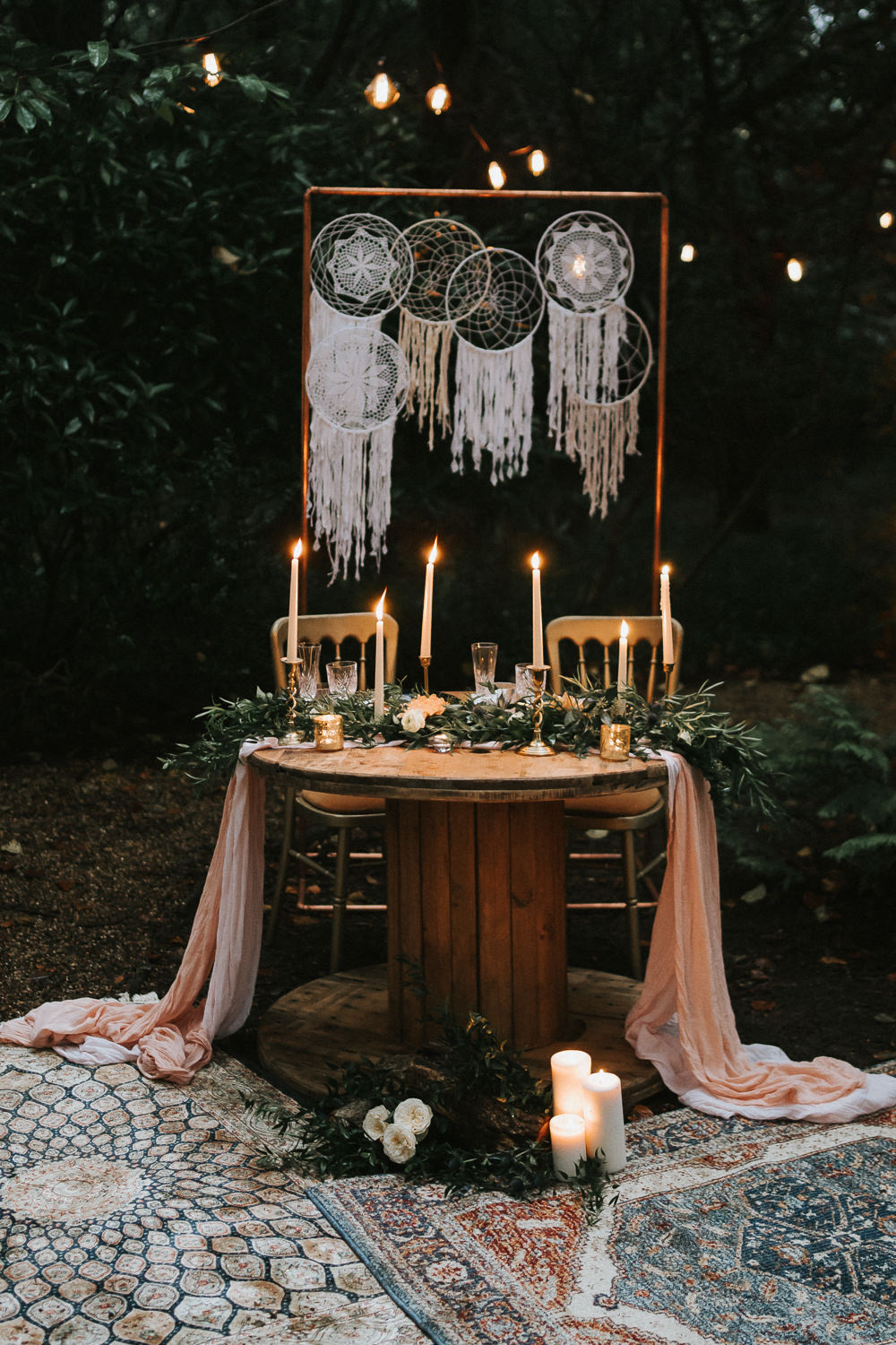 Sweetheart Table Candles Greenery Place Setting Macrame Backdrop Woodland Wedding Inspiration Stephanie Dreams Photography