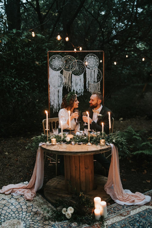Sweetheart Table Candles Greenery Place Setting Macrame Backdrop Woodland Wedding Inspiration Stephanie Dreams Photography
