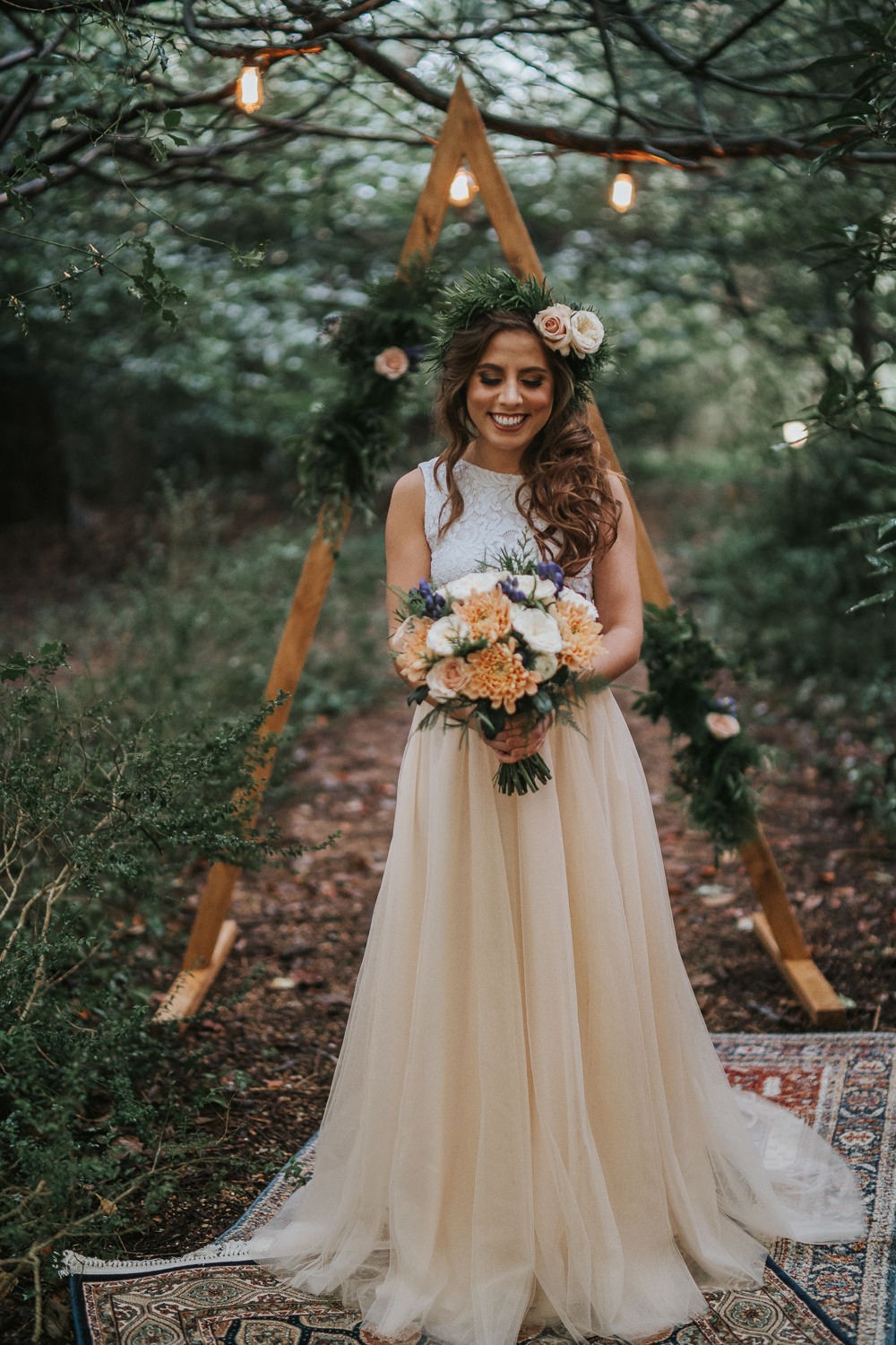 Dress Gown Bride Bridal Separates Skirt Top Woodland Wedding Inspiration Stephanie Dreams Photography
