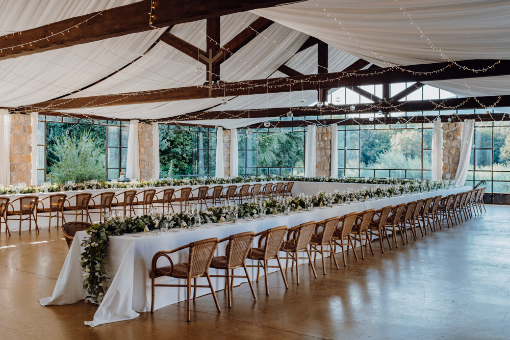 Long Table Greenery Foliage Garland Runner Swag Aquapetra Resort Spa Wedding Peter Hughes Photography