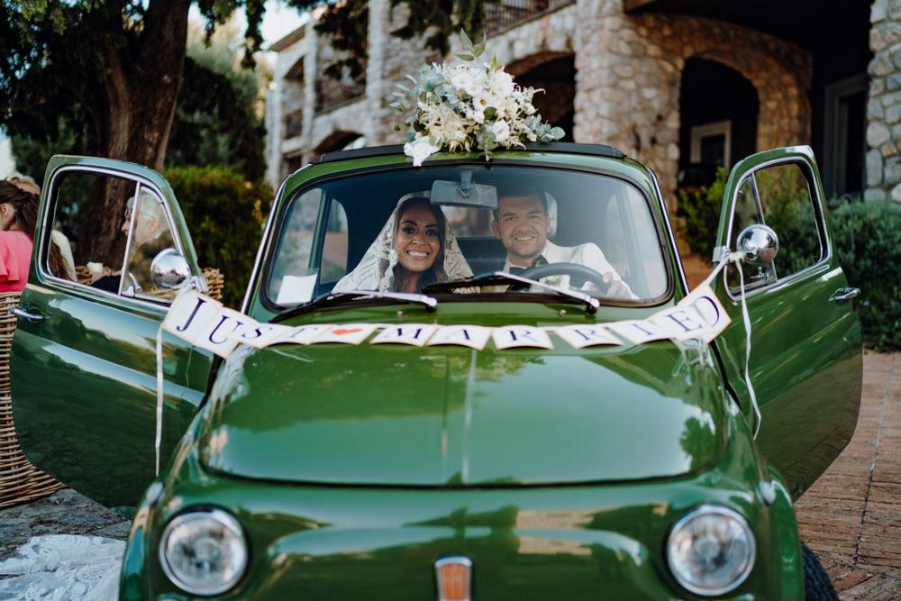 Green Classic Car Transport Aquapetra Resort Spa Wedding Peter Hughes Photography