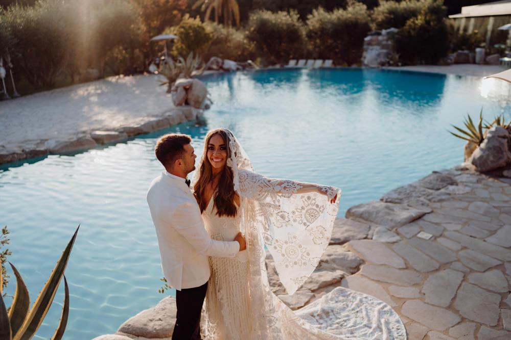 Aquapetra Resort Spa Wedding Peter Hughes Photography Dress Gown Bride Bridal Rue De Seine Medina Lace