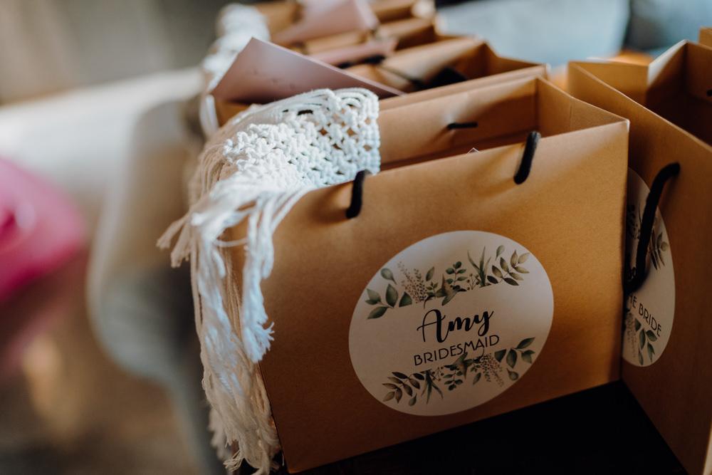 Bridesmaids Gift Bags Aquapetra Resort Spa Wedding Peter Hughes Photography