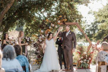 Romantic California Ranch Wedding with Hexagon Flower Arch