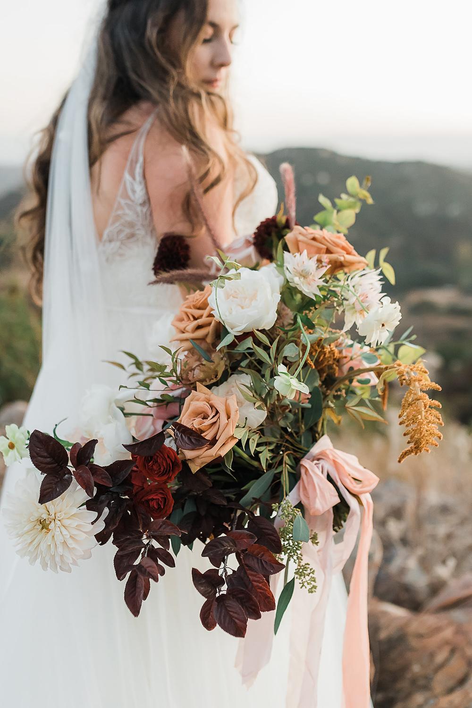 Bouquets Flowers Bride Bridal Bridesmaid Dahlia Rose Foliage Ribbon California Ranch Wedding WildflowerPhotoCo