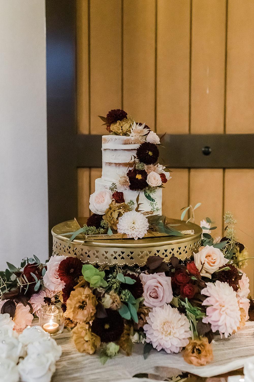 Semi Naked Cake Flowers Floral California Ranch Wedding WildflowerPhotoCo