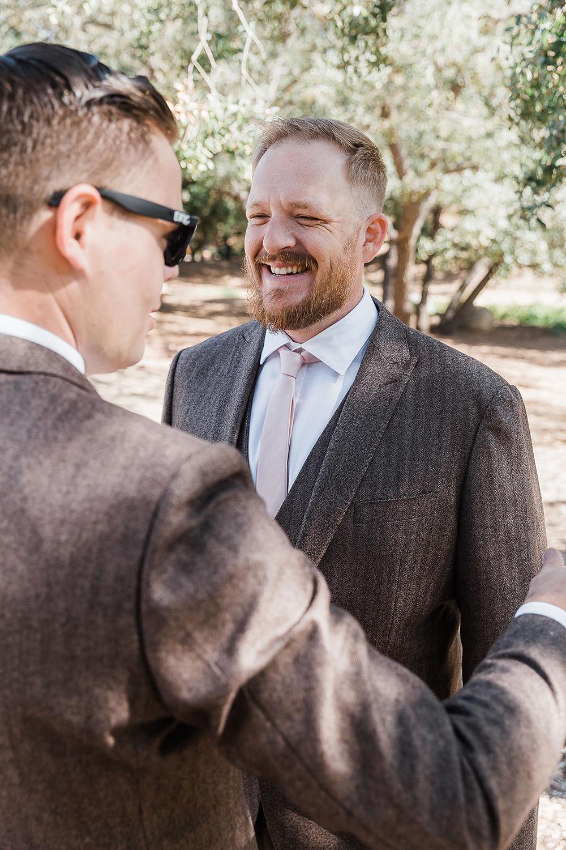 Groom Suit Pink Tie California Ranch Wedding WildflowerPhotoCo