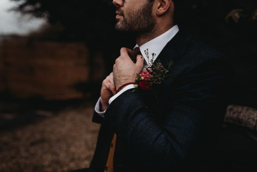 Groom Suit Tan Waistcoat Jumper Burgundy Tie Christmas Marquee Wedding Thyme Lane Photography