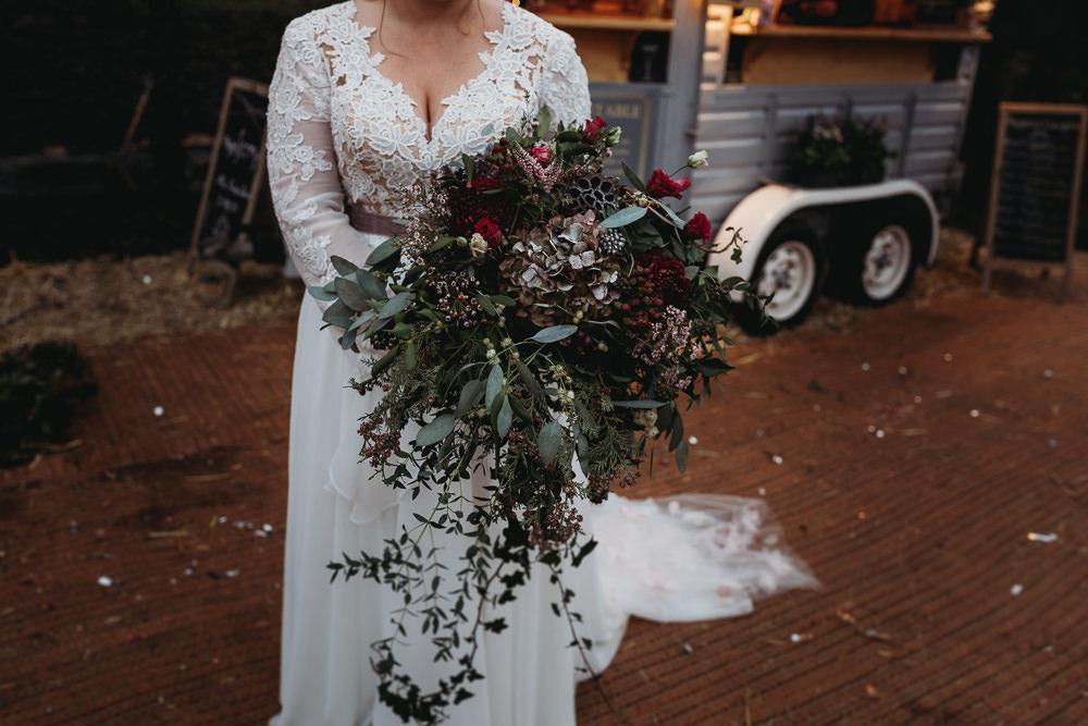 Bouquet Flowers Bride Bridal Wild Greenery Foliage Hydrangea Rose Christmas Marquee Wedding Thyme Lane Photography