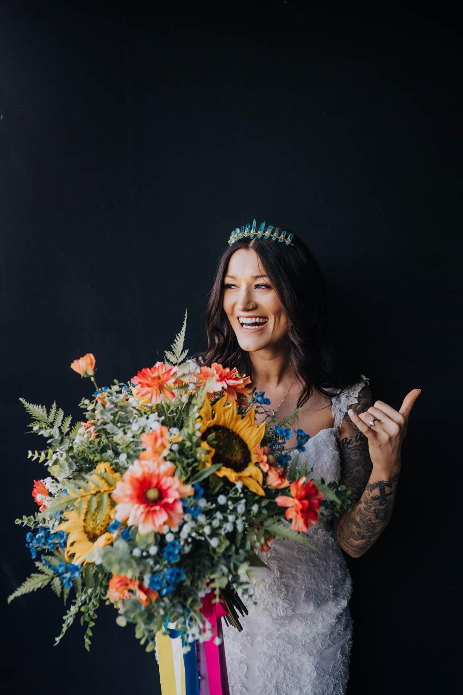 Bouquet Flowers Bride Bridal Colourful Artificial Ribbons Sunflowers Chypraze Wedding Barn Clara Cooper Photography