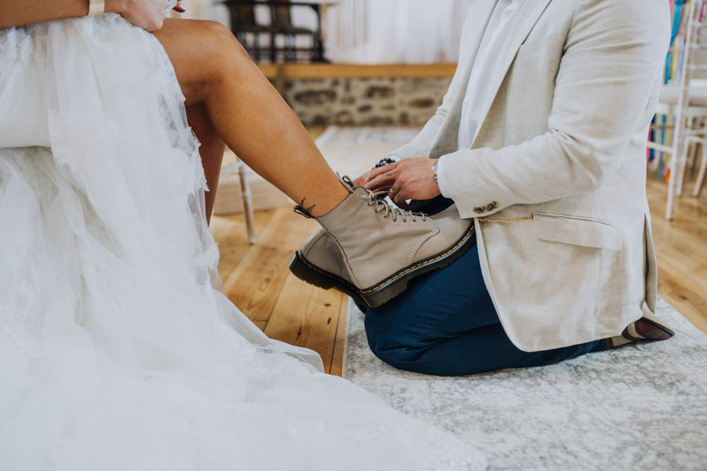 Bride Bridal Boots Chypraze Wedding Barn Clara Cooper Photography