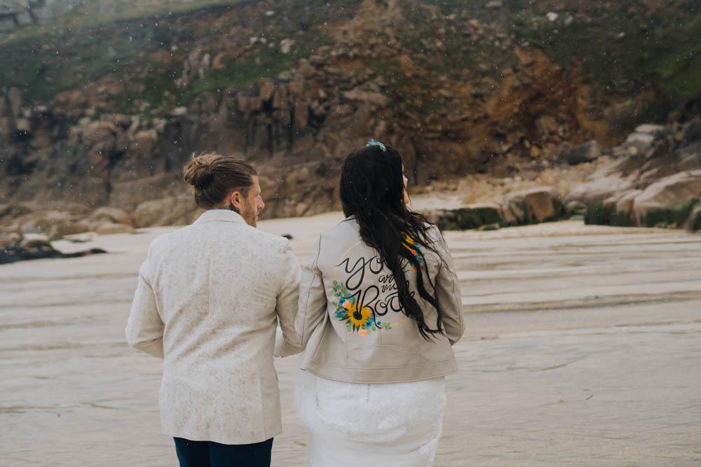 Bride Bridal Jacket Painted Personalised Sunflowers Chypraze Wedding Barn Clara Cooper Photography
