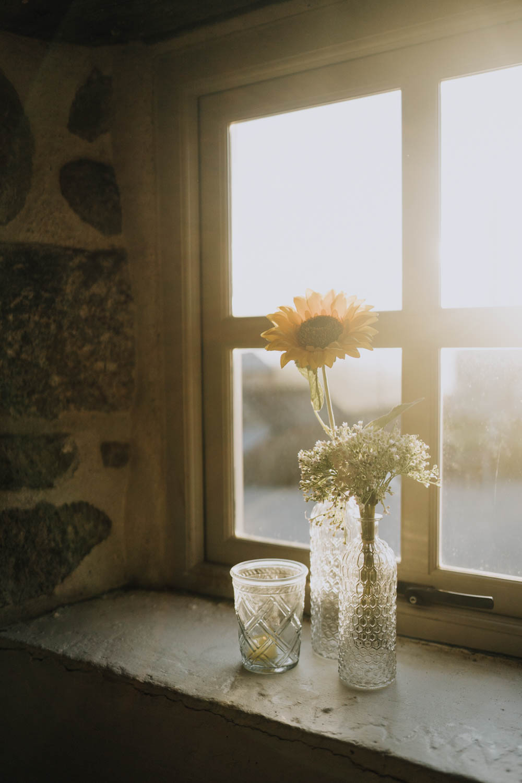Sunflowers Fowers Bottles Decor Chypraze Wedding Barn Clara Cooper Photography