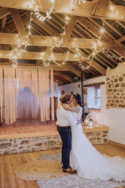 Macrame Backdrop Ceremony Aisle Hanging First Dance Fairy Lights Chypraze Wedding Barn Clara Cooper Photography