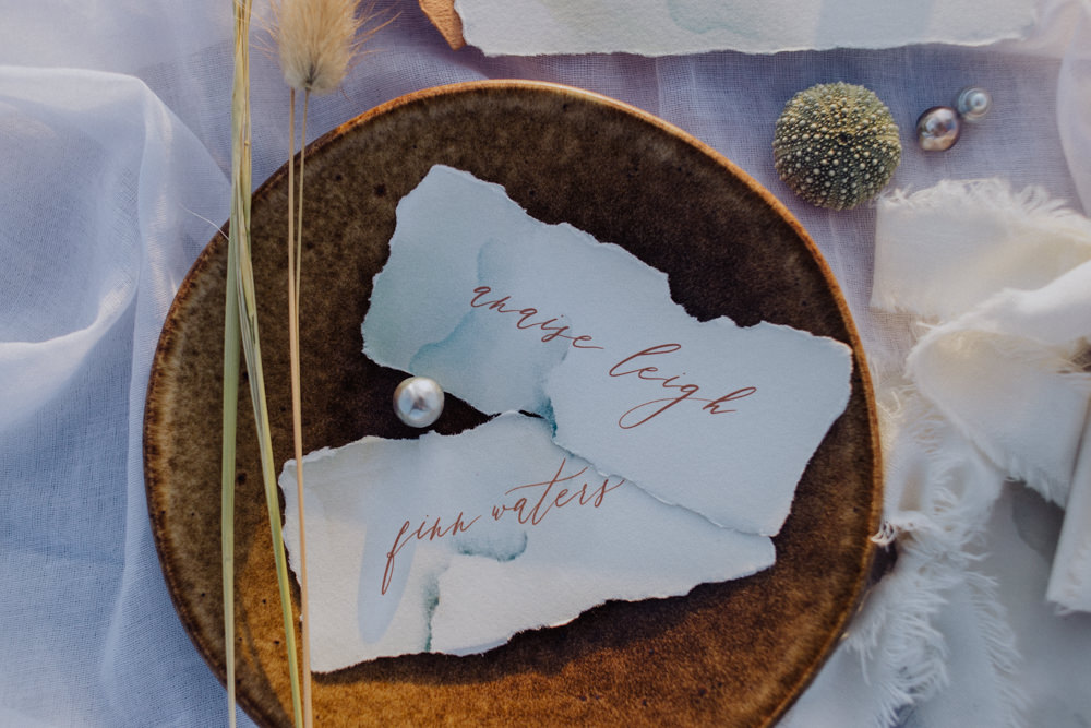 Place Name Cards Calligraphy Coastal Elopement Manon Pauffin Photography
