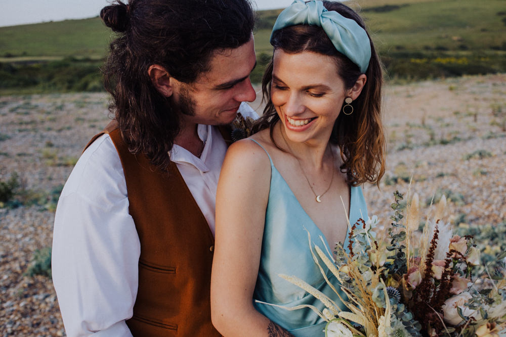 Bride Bridal Headband Blue Coastal Elopement Manon Pauffin Photography